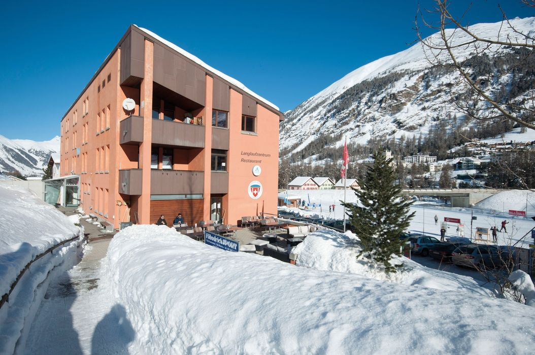 Outside view winter Pontresina Youth Hostel