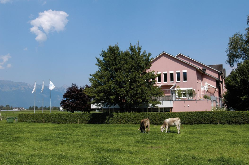 Outside view Schaan-Vaduz Youth Hostel with cows