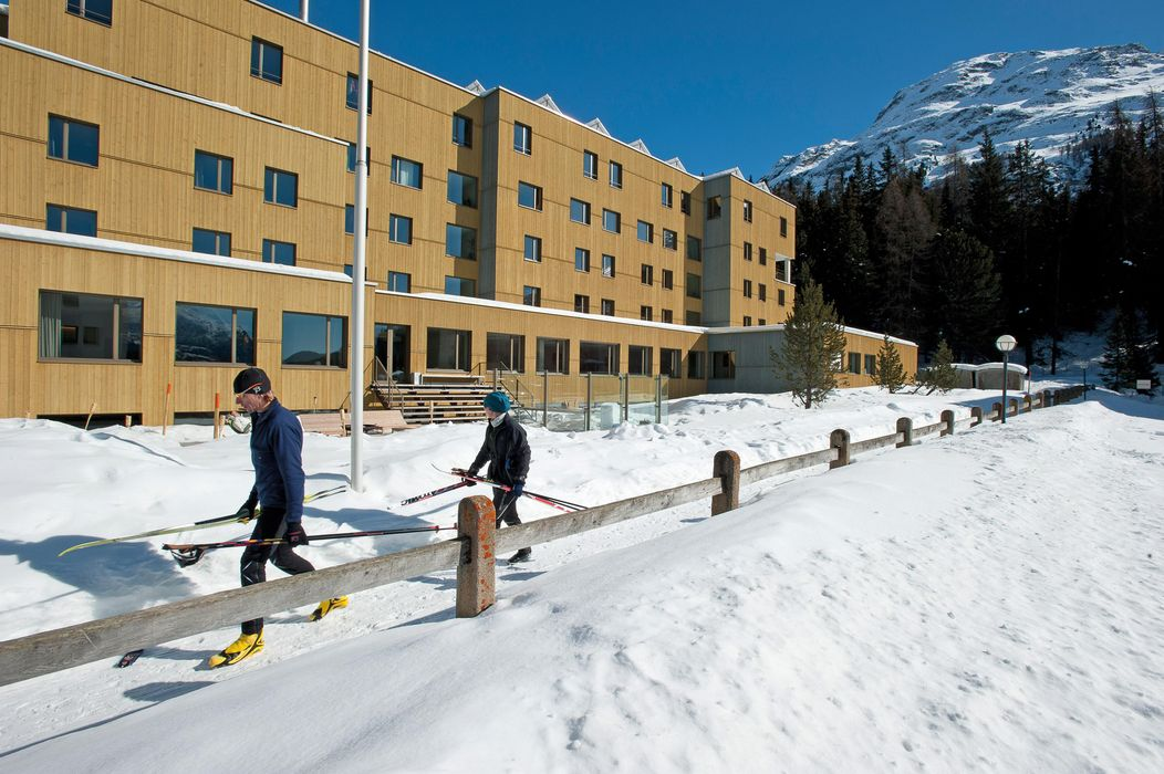 Exterior view  winter St. Moritz Youth Hostel